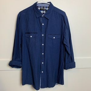 Smash Two Tone Blue Button Up Long Sleeve Shirt